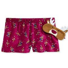 Jenni Boxer Pajama Shorts & Eye Mask Set in Skatin' Reindeer, XS