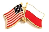 USA - POLAND  FRIENDSHIP CROSSED FLAGS LAPEL PIN - NEW - COUNTRY PIN