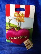 Candy Crush Saga Plush Key Ring Key Chain Fuchsia Heart I Need A Life! New