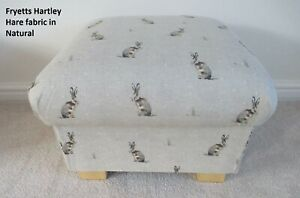 Storage Footstool Fryetts Hartley Hare Fabric Pouffe Natural Beige Rabbits Taupe