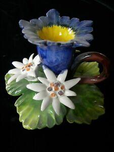 *Bassano* Keramik Handbemalte Kerzenhalter Kerzenständer Enzian&Edelweiß 12x8 cm