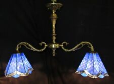 VTG FRANCE BILLIARD STYLE CEILING CHANDELIER FIXTURE STAINED GLASS SHADE 50's