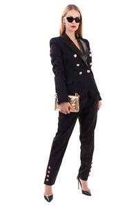 RRP €3256 BALMAIN Wool Blazer Jacket Size 40 / L Contrast Leather Peak Collar