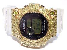 Mens 10k Yellow Gold 12.00ct Yellow Diamond Frogman Divers Casio G-Shock Watch