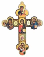 Christ the Teacher with Our Lady of Kazan Wooden Orthodox Wall Cross, 12 Inch