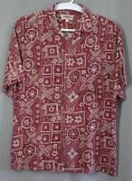mens Hawaiian Aloha shirt Campia Moda size L rayon red tan short sleeve vintage