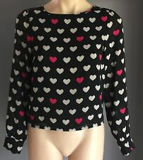 Sweetheart DIVIDED by H&M Heart Print Sheer Long Sleeve Top Size 8