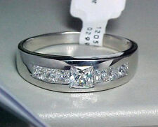MENS PRINCESS CUTS 925 SOLID STERLING SILVER 2 CT CUBIC ZIRCONIA RING SIZE 10