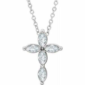 "Genuine White Sapphire Cross 16-18"" Necklace In Platinum"