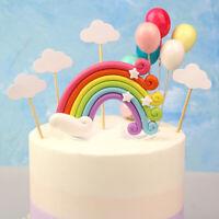 Rainbow Shape Cake Topper Flag Baby Shower Birthday Wedding Party Baking Decor