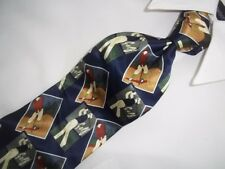 """Dunhill Blue Multi Color Golf Player Woven Silk Tie 56"""" x 4"""""""