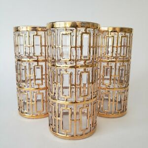 "Imperial Glass Shoji 22K Gold Trellis Tumblers 5.75"" Tall Set of 3 MCM Excellent"