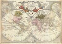 "Beautiful Vintage Old World Map 1700's CANVAS PRINT 24""X18"" Totius Mundi"
