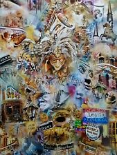 "RAYMOND MANCINI ""MARDI GRA"" ARTISTIC COLLAGE LIMITED EDITION ART PRINT"