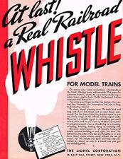 1935 LIONEL REAL RAILROAD WHISTLE - DISNEY FOLDER - T.T.O.S. REPRO - NEW!