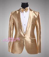 Mens Tuxedo Suit One Button Gold Dance Coats Wedding Blazers Jacket&Pants Trendy