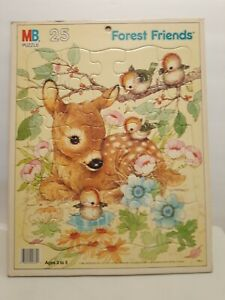 Giordano Frame Tray 25 Pieces Puzzle Forest Friends Art Fawn Birds 1987