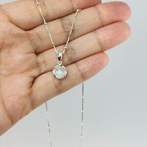 Minimalist sterling silver rainbow moonstone small bezel pendant necklace gift