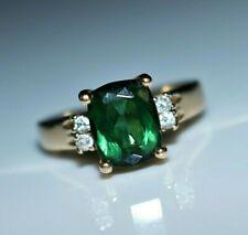 Estate 14k Yellow Gold Vivid Green Tourmaline Diamond Ring, Size 7.5
