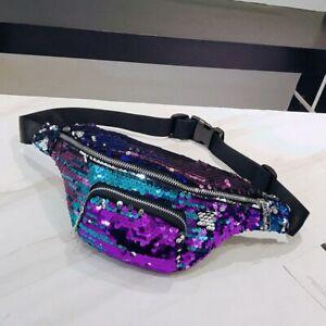 Glitter Waist Fanny Pack Belt Bum Bag Pouch Hip Purse Zipper Running chest Bag