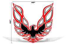"42"" X 42"" Firebird Hood Graphic Decal Sticker For Pontiac Trans Am RED BLACK"