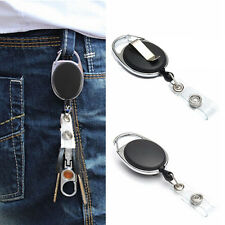 Retractable Reel Recoil ID Badge Lanyard Name Tag Key Card Holder Belt Clip
