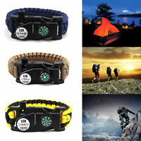 20 in 1 Emergency Paracord Bracelet Survival SOS Compass LED Mountaineer Tools