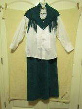Women's Chaplin Western Dress Suit~Skirt & Shirt~Fringe Teal/White Rodeo Cowgirl