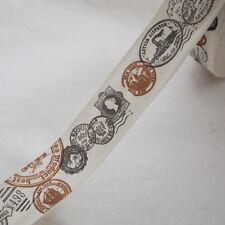 Cotton Fabric Ribbon Trim - Vintage Postal Stamps