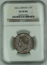 1826 Great Britain 1/2 Penny Coin George IV NGC AU 58 BN Brown AKR