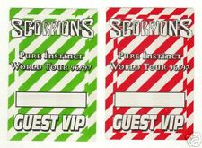 SCORPIONS - BACKSTAGE PASS PASSES - 2 SELF ADHESIVE CLOTH PATCHES