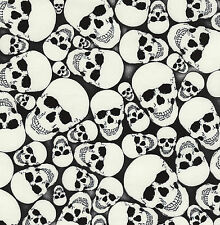 Fat Quarter Glow In The Dark Skulls Wicked Halloween 100% Cotton Quilting Fabric