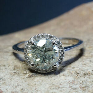 Real 1.10 Carat Diamond Engagement Ring 18K Solid White Gold Size M N O P