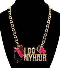 """""""I DO MY HAIR"""" Statement Necklace AFRO PUFF/PICK Bling Rhinestone Chain ~ PINK"""