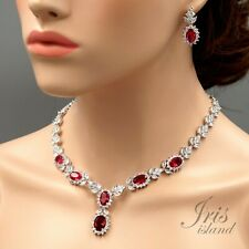 18K White Gold GP Ruby Red Zirconia CZ Necklace Earrings Wedding Jewelry Set 551