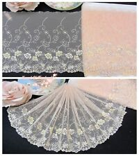 """7/""""*1Y Embroidered Knit Cotton Lace Trim~Optical White~Beautiful Expectation~"""