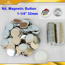 "Diy Pro 1-1/4"" 32mm Nd. Magnetic Badge Button Parts 100 Sets Maker Sticker"