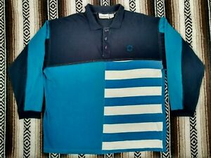 Givenchy Activewear Polo Shirt color block vtg Rugby designer long sleeve Blue L