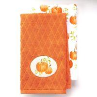 Pumpkin Kitchen Towel 2Pc Ultra Soft Cotton Applique Design Fall Holiday Orange