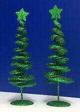 """2 Wire Spiral Metal glitter / sequins Christmas Trees - 10"""" tall - Holiday decor"""