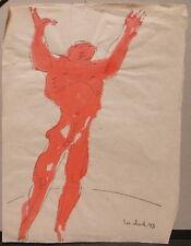 """Aquarelle Originale ION VLAD (1920-1992) """" Nu """" Sculpteur Roumain 1973 IV1"""
