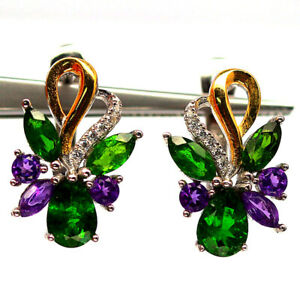 NATURAL GREEN CHROME DIOPSIDE AMETHYST & CZ 925 STERLING SILVER EARRINGS