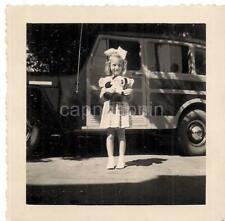 Darling Big Hair Bow Girl Holding Stuff Panda By Panel Truck Vintage Photo