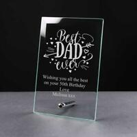 Personalised Best Dad Ever Glass Plaque GP-72
