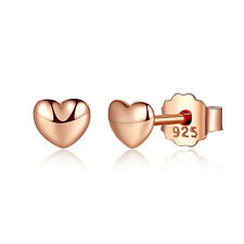 Wostu Small S925 Sterling Silver Earrings Rose Gold Heart For Women Christmas