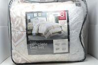 Jessie Damask 8-Piece Queen Comforter Set in Khaki