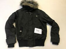 RIVER ISLAND Hooded Military Style Jacket in Grey/Brown M Medium  (win1)
