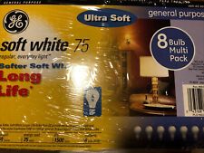 Light Bulbs Ge 75 Watts Energy Efficient A19 Soft White 8 Pack 1500 hours New