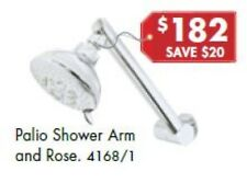 Shower Head Rose with Swivel Arm Wall Mount Chrome Palio Dynasty by Novelli