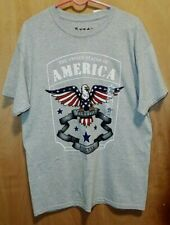 5 Star Eagle Freedom Forever Gray Heather Adult T-Shirt Size L NWT From Sears